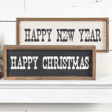 Happy Christmas/Happy New Year Two-Sided Sign