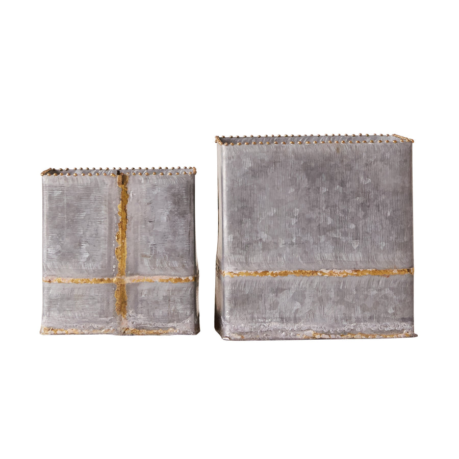 Galvanized Square Containers, Set/2