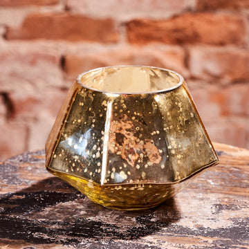 Mercury Glass Hexagon Votive Candle Holder
