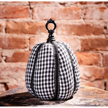 Black & White Checkered Pumpkin, Large