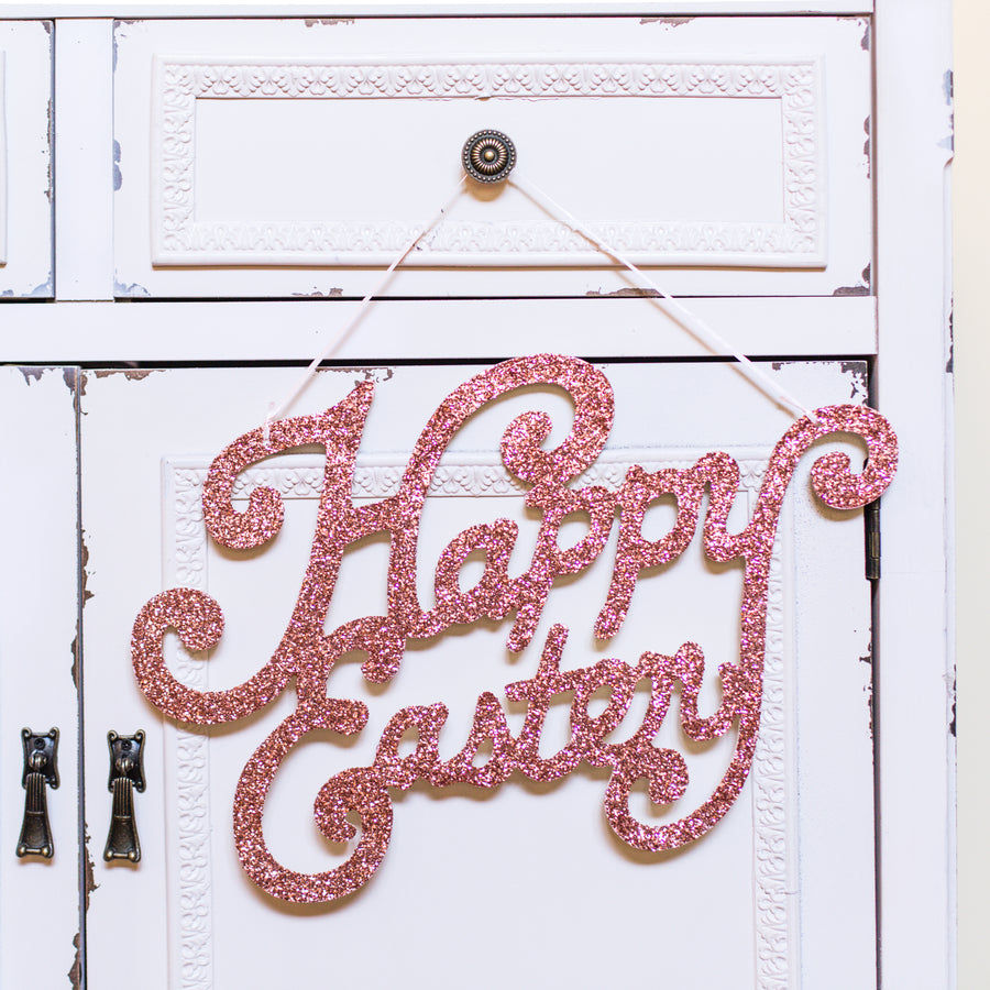 Pink Glittered Happy Easter Sign