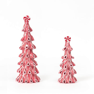 Peppermint Ribbon Candy Trees, Set/2