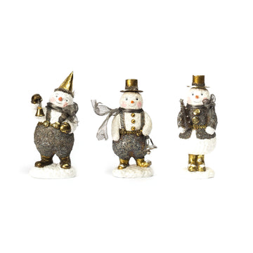 Trio of Gold Hat Snowmen, Set/3