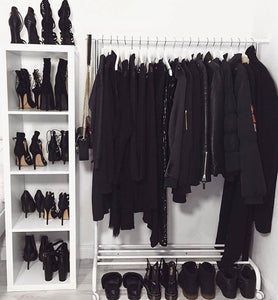Closet full of black clothes