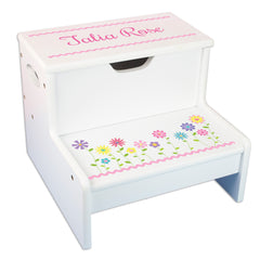 White Step Storage Stool