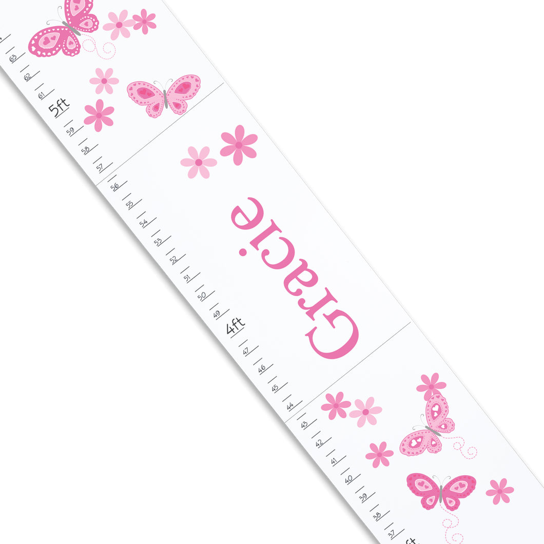 Pink Butterflies White Growth Chart