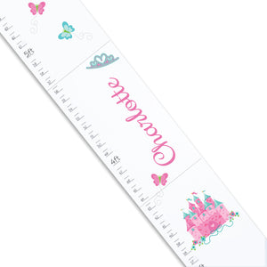 White Princess Castle Pink Teal Growth Chart