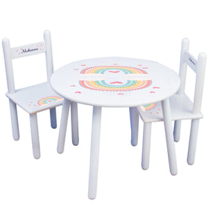 Personalized Boho Rainbow Table and Chair Set