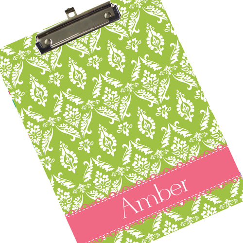 Custom Green Damask Clipboard