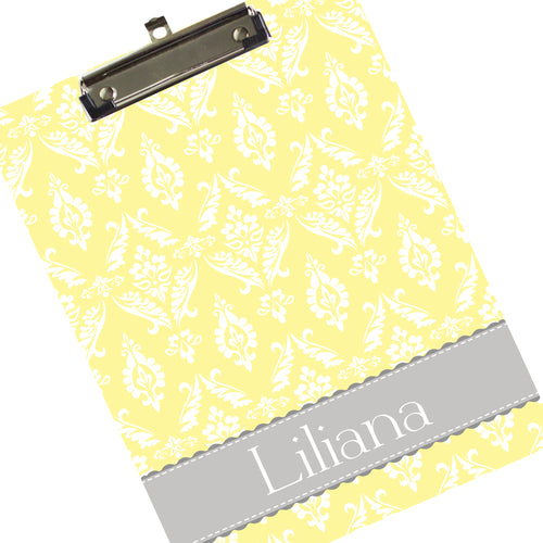 Personalized Yellow Damask Clipboard
