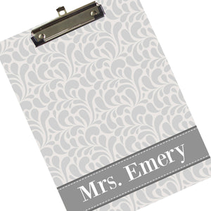 Personalized Gray Clipboard - Dancing Drops Pattern