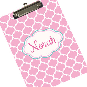 Customized Moroccan Print Clipboard Pink & Aqua