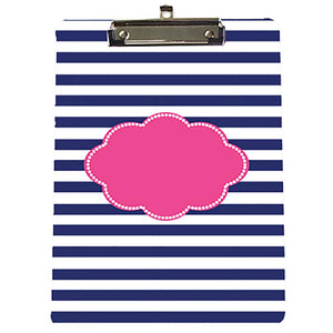 Monogrammed Blue & Pink Stripes Clipboard