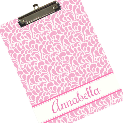 Personalized 9x12 Clipboard - Pink Dancing Drops