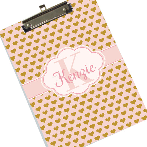 Girl's Personalized Clipboard - Heart of Gold