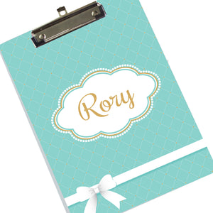 Custom Tiffany Blue Bow Clipboard