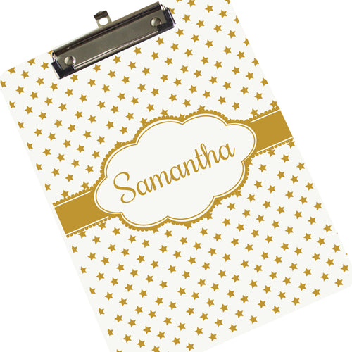 Personalized Clipboard - Rose Gold Stars