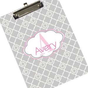 Custom Gray Floret Clipboard