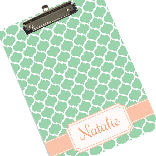 Monogrammed Mint Green Moroccan Clipboard