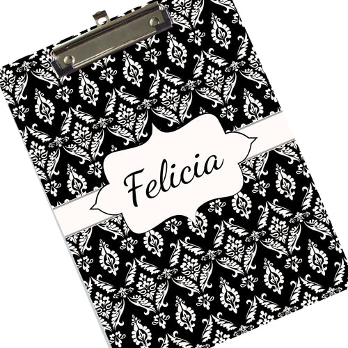 Custom Black Damask Clipboard