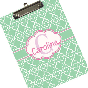 Custom Mint & Pink Quatrefoil Clipboard