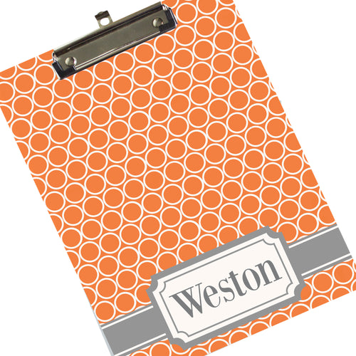 Custom Orange & Gray Ring Clipboard