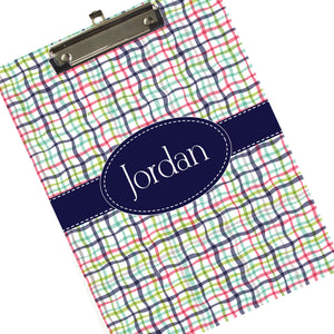 Personalized Preppy Plaid Clipboard