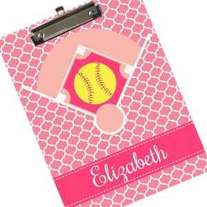 Custom Girl's Softball Clipboard