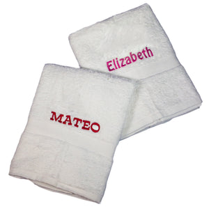 Personalized White Bath Towel Monogrammed
