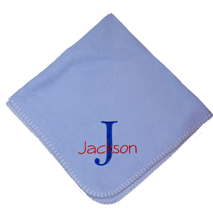 Personalized Blue Baby Blanket Name Initial