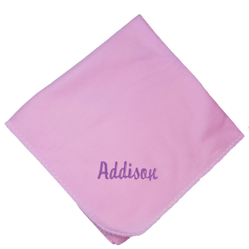 Personalized Pink Baby Blanket Name Initial Color
