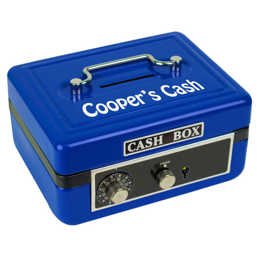 childs blue cash box with name