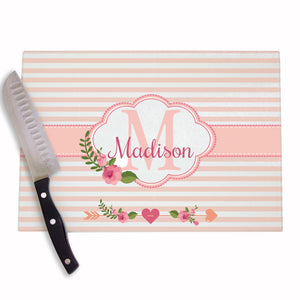Blush Floral Personalized Cutting Board