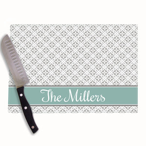 Gray Florettes Personalized Cutting Board