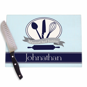 Blue Chef in Training Glass Cutting Board