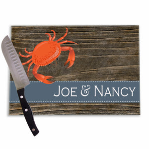 Red Crab Barnwood Glass Cutting Board