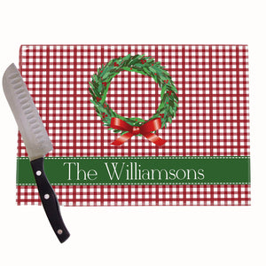 Christmas Wreath Personalized Cutting Board