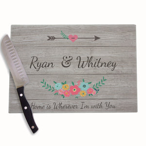 Spring Floral Personalized Cutting Board