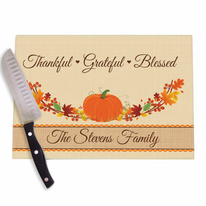 Autum Pumpkin Wreath Personalized Cutting Board