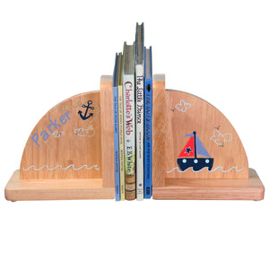 Hand Painted natural Wood Bookends