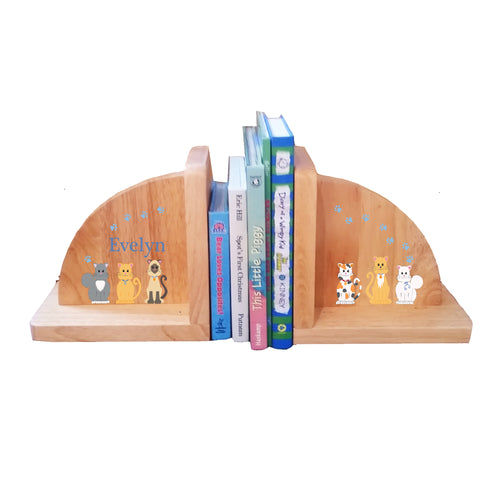 Natural Wood Blue Cats Bookends