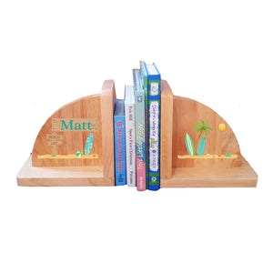 Natural Wood Surfs Up Bookends