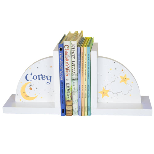 Personalized Celestial Moon White Bookends