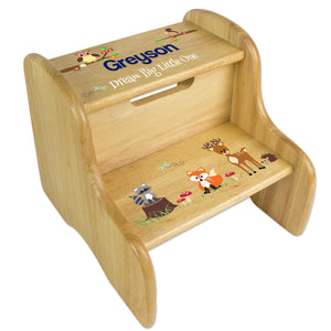 Woodland Animal Wood Two Step Stool