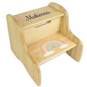 Personalized Boho Rainbow Natural Two Step Stool