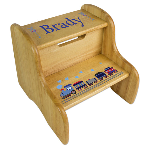 Train Natural Wood Two Step Stool