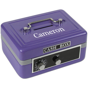 personalized purple cash box with childs name message
