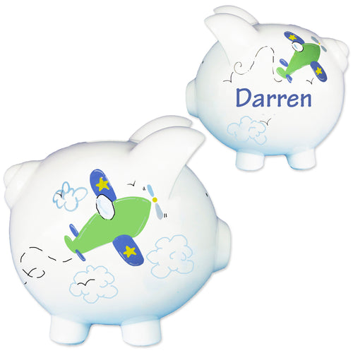 Personalized Airplane piggy bank
