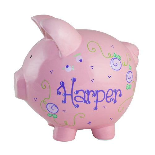 Hand Painted Pink Piggy Bank