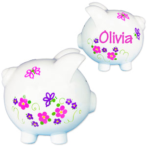 Girls personalized butterfly and flower hand painted piggy ban